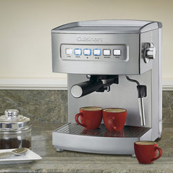 """Frontgate - Cuisinart Programmable Espresso Maker - 15 bars of pressure. 69-ounce removable reservoir. Pre-programmed cup size set at 1.5 oz. and 3 oz.. Brews one or two cups with ground espresso or pods. Steam button is a separate function and easy to use. Whether you prefer a single or double espresso the choice is yours with the Cuisinart Programmable Espresso Maker. Turn your espresso into a cappuccino or latte – just like a barista. It's effortless with the included stainless steel steaming nozzle and frothing cup. With added features like a cup-warming plate on top and a removable drip tray and cover for easy cleanup, making professional-quality espresso drinks at home is a breeze. . .  . . . Equipped with stainless steel steam nozzle for making cappuccinos and lattes. Portafilter holder with locking mechanism makes it easy to dispose of wet grounds. Removable drip tray and cover for easy cleanup. Warming tray on top. Tamping tool with measuring spoon and stainless frothing cup included. Limited 3-year warranty. 36"""" cord."""