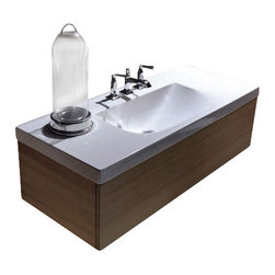 """WS Bath Collections - Bentley 3938C Bathroom Vanity Unit with Drawer Unit 47.2"""" x 19.7"""" - Bentley 3938C by WS Bath Collections, Wall Hung Bathroom Vanity Unit, Includes Ceramic Bathroom Sink with One or Three Faucet Holes, and Wood Drawer Unit"""