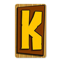 Tiki Letter K Metal Sign Wall Decor 8 x 14 - Tiki Letter K Metal Sign Wall Decor From the Retro Planet licensed collection, this Tiki Letter K metal sign measures 8 inches by 14 inches and weighs in at 1 lb(s). This metal sign is hand made in the USA using heavy gauge american steel and a process known as sublimation, where the image is baked into a powder coating for a durable and long lasting finish. This metal sign is drilled and riveted for easy hanging.