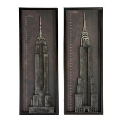 ecWorld - New York City Chrysler & Empire State Building Metal Wall Art Decor - Set of 2 - Celebrate New York City with these two contemporary handcrafted wall art pieces. Two rectangular panels of metal carefully assembled by expert artisans with eye-popping Chrysler Building and the Empire State Building. A three dimensional design, ideal for classy urban and modern decor.