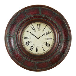 Aspire - 36 in. Brick Wall Clock - This timekeeper features a huge frame, measuring a full three feet in diameter! The wood frame is decorated with different intricate designs, finished in a brick red color and made to look antique with green patina accents. The clock face has large, dark roman numeral lettering, making it easy to read. Wood. Color/Finish: Brick red. Operates using one AA battery (not included). 36 in. H x 36 in. W x 2.5 in. D. Weight: 22 lbs.
