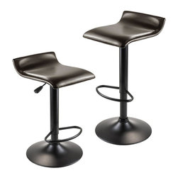 Winsome Wood - Airlift Adjustable Stool - Set of 2 - Set of 2. Upholstered seat. Metal leg and base. Soft and smooth seat. Made from PU leather. Dark espresso and black color. Assembly required. Seat: 26 in. - 33 in. H. Overall: 15.16 in. W x 15.29 in. D x 33.84 in. H