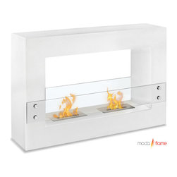 Moda Flame - Moda Flame Alcoi Contemporary Indoor Outdoor Ethanol Fireplace in White - Add warmth, charm and ambiance with GF201300W Alcoi Contemporary Indoor Outdoor Ethanol Fireplace in White by Moda Flame Designed with a sleek steel powder coated rectangular frame, the Alcoi free standing ethanol contemporary fireplace asserts a bold look with dual burner and tempered glass sheets on either side. The Alcoi allows for an exquisite display of multiple dancing flames. Fireplace (1)