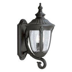"Progress Lighting - Progress Lighting P5823-31 Meridian Two-Light Cast Aluminum Large Bottom-Mount - Two Light Wall LanternThe Meridian collection offers a warm Golden Baroque or distinguished Black finish. Wall mounted fixtures showcase acanthus cast arms, while decorative shepherd hooks connect the hanging lanterns. The post lanterns display beautiful finials, and clear seeded glass urns emphasize the stylized framesExtends: 12-1/2"", height from center of junction box: 10""2 60w max Candelabra Base Bulbs (not included)"