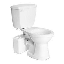 Saniflo - Saniflo 017-003-005 Two Piece Round Bowl Toilet with Macerating Pump White - The Sanitop is a system that is used to install a complete bathroom up to 12 feet below the sewer line, or even up to 120 feet away from a soil stack. It can handle the effluent from a toilet and sink.A normal operating cycle for Sanitop takes about 7-9 seconds depending upon the discharge pipe run configuration; power consumption is therefore minimal.A non-return valve, which comes already assembled on the discharge elbow, prevents back flow into the unit.The design of this model consists of vibration absorbers which enable the reduction of operating sound by reducing the transmitted sounds from any location where such resonance transmission could occur. This new design reduces the operating sound of this pump by 10dB.The Sanitop is simplicity itself to install; there are just four connections.- The macerator/pump is connected to the spigot of a horizontal rear discharge toilet.- The toilet tank is connected to the water supply.- The macerator/pump is connected to the small diameter discharge pipe work.- The macerator/pump is connected to the electrical supply.The Sanitop has been certified to American and Canadian Standards.