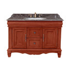 Bosconi - 48 in. Classic Single Vanity - Includes sink overflow drain. Faucet and drain not included. Vanity with two doors and two drawers. 0.7 in. thick dark emperador marble countertop. White and under-mount ceramic basin sink. Three 8 in. standard faucet holes. Antique brass hardware. Made from birch solid wood frame, CARB PH2 certified MDF sides and panelling. Antique yellow finish. Matching backsplash: 0.7 in. W x 3.1 in. H. Sink: 22 in. W x 16 in. D x 7.9 in. H. Overall: 48 in. W x 23 in. D x 33 in. H (220 lbs.)Bosconi classic model is a smart choice countertop and great storage area will provide a great solution to any need with timeless simple classical design. Finish will complement any bathroom decor.