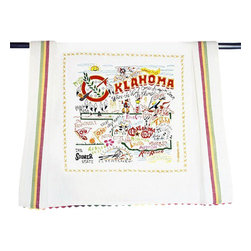 CATSTUDIO - Oklahoma State Dish Towel by Catstudio - This original design celebrates the state of Oklahoma. From Enid to Ardmore, from the Arbuckle Mountains to Black Mesa, Oklahoma is more than OK.  This design is silk screened, then framed with a hand embroidered border on 100% cotton dish towel/ hand towel/ guest towel/ bar towel. Three stripes down both sides and hand dyed rick-rack at the top and bottom add a charming vintage touch. Delightfully presented in a reusable organdy pouch. Machine wash and dry.