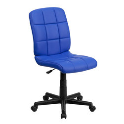 Flash Furniture - Flash Furniture Mid-Back Blue Quilted Vinyl Task Chair - This contemporary designed computer chair will highlight a dull or attractive work space. Get away from the ordinary office chair with the attractive quilted, tufted upholstery.