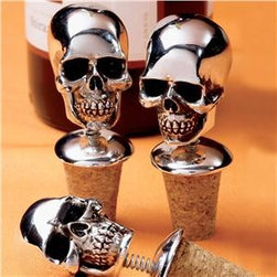 Bobbling Skulls Wine Bottle Stopper Set - What's better than a skull wine stopper to add some fun to your dinner party?