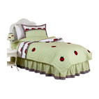 Sweet Jojo Designs - Ladybug Parade Children's Bedding Set - The Ladybug Parade Children's Bedding set will help you create an incredible room for your child. This precious girl bedding set combines solid fabrics with a gingham print trim and embroidered ladybug appliques. This collection uses the stylish colors of Sage Green, White, Black and Red.