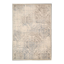 "Nourison - Nourison Graphic Illusions GIL09 5'3"" x 7'5"" Ivory Area Rug 13077 - Expert hand carving and high-low loop pile construction give this area rug extraordinary touch appeal. Sublime shading in subtle gradations of grey and ivory impart a damask design with an intriguing air that will lend an exotic allure to any setting."