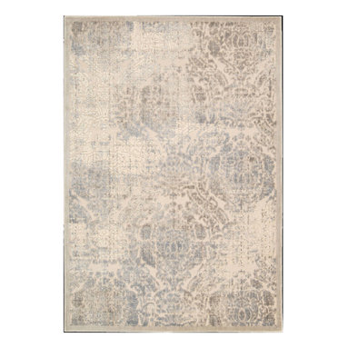 """Nourison - Nourison Graphic Illusions GIL09 5'3"""" x 7'5"""" Ivory Area Rug 13077 - Expert hand carving and high-low loop pile construction give this area rug extraordinary touch appeal. Sublime shading in subtle gradations of grey and ivory impart a damask design with an intriguing air that will lend an exotic allure to any setting."""