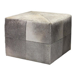 Jamie Young Co. - Jamie Young Co. Large Grey Hide Ottoman - Large Grey Hide Ottoman by Jamie Young.