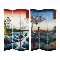 Oriental Furniture - 6 ft. Tall Double Sided Hiroshige Room Divider - Sea at Satta/Teahouse - This folding screen features high resolution reproductions of two of Utagawa Hiroshige's famous ukiyo-e prints of Mount Fuji. On one side, a pair of women lounging in a Zoshigaya teahouse pause to look at the famous mountain in the distance. On the reverse, the lofty mountain looms over the depths of the Suruga Bay where a powerful wave crests dramatically over the turbulent waters. With its vivid colors and stunning details, this beautiful screen will bring the refined style of one of Japan's master artists to your home or business.