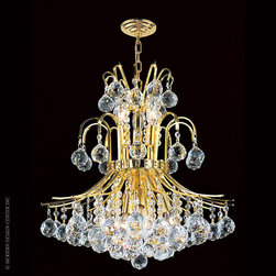 Worldwide Lighting Empire Chandelier W83043G19 - Worldwide Lighting Empire Collection 9 light Gold Finish and Clear Crystal Chandelier