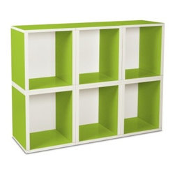 Way Basics Modular 6 Cube Tall Bookcase - Green - Get creative with the Way Basics Modular 6 Cube Bookcase Green. Stack this set of 6 cubes any way you like and make a stylish spot for your books, magazines, toys, or games. Each eco-friendlystorage cube is manufactured with our durable zBoard recycled paperboard material, making it lightweight, strong, water resistant and best of all, completely recyclable. Assembly is a snap, just peel and stick the 3M Brand adhesive strips and assemble. No tools required.About Way BasicsWay Basics is an innovator of eco-friendly furniture and has been creating a wide variety of products using recycled materials for their customers to enjoy in the home and office. Their products require no tools to assemble and are designed to add style and function to any space without leaving a heavy footprint on the environment. Way Basics also works with furniture banks and charities around the globe to help those families in need and is a founding member of the Sustainable Furnishings Council, a coalition united to promote environmentally healthy practices in the industry.