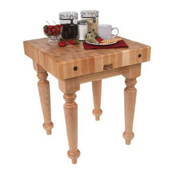 """John Boos - BoosBlock Saratoga Prep Table with Butcher Block Top - Features: -Solid hard maple construction.-BoosBlock collection.-John Boos products with a varnique finish require a cutting board during food preparation to prevent damage to the finish.-Product Type: Kitchen work/table island.-Collection: Boos Block.-Base Finish: Natural maple.-Counter Finish: Boos cream with beeswax.-Hardware Finish: Zinc-coated.-Distressed: No.-Powder Coated Finish: No.-Gloss Finish: Yes.-Base Material: Maple.-Counter Material: Hard rock maple.-Solid Wood Construction: Yes.-Stain Resistant: No.-Warp Resistant: No.-Exterior Shelves: No.-Drawers Included: No.-Cabinets Included: No.-Towel Rack: No.-Pot Rack: No.-Spice Rack: No.-Cutting Board: Yes.-Drop Leaf: No.-Drain Groove: No.-Trash Bin Compartment: No.-Stools Included: No.-Wine Rack: No.-Stemware Rack: No.-Cart Handles: No.-Finished Back: Yes.-Commercial Use: Yes.-Recycled Content: No.-Eco-Friendly: No.-Product Care: Wipe with mild soap & water & must oil butcher block top every 2-3 weeks.-Country of Manufacture: United States.Dimensions: -Overall Height - Top to Bottom (Size: 24"""" W x 24"""" D): 32"""".-Overall Height - Top to Bottom (Size: 30"""" W x 24"""" D): 32"""".-Overall Width - Side to Side (Size: 24"""" W x 24"""" D): 24"""".-Overall Width - Side to Side (Size: 30"""" W x 24"""" D): 30"""".-Overall Depth - Front to Back (Size: 24"""" W x 24"""" D): 24"""".-Overall Depth - Front to Back (Size: 30"""" W x 24"""" D): 24"""".-Countertop Thickness (Size: 24"""" W x 24"""" D): 4"""".-Countertop Thickness (Size: 30"""" W x 24"""" D): 4"""".-Countertop Width - Side to Side (Size: 24"""" W x 24"""" D): 24"""".-Countertop Width - Side to Side (Size: 30"""" W x 24"""" D): 30"""".-Countertop Depth - Front to Back (Size: 24"""" W x 24"""" D): 24"""".-Countertop Depth - Front to Back (Size: 30"""" W x 24"""" D): 24"""".-Shelving: No.-Drawer: No.-Cabinet: No.-Stool: No.-Overall Product Weight (Size: 24"""" W x 24"""" D): 105 lbs.-Overall Product Weight (Size: 30"""" W x 24"""" D): 120 lbs.Assembly: -Assembly Required: Yes.-Tools Needed: Ratchet.-Addi"""