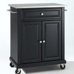 Crosley Furniture - Stainless Steel Top Portable Kitchen Cart - 1 Adjustable shelf. 1 Drawer. 2 Beautiful raised panel doors. 2 Towel Bars. 2 Heavy duty locking casters for stability. Stainless steel top. Solid hardwood and veneer construction. Hand rubbed multi-step finish. Brushed Nickel hardware and White finish. Assembly required. 1-Year manufacturer's warranty. 28.25 in. L x 18 in. W x 36 in. H (82.2 lbs.)