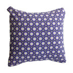 BohoCHIC Maui - Purple and White Geometric Circles Pillow Cover - This cushion has been hand crafted from cotton with geometric purple circles as its main feature and mirror organza at the back. Lined with cotton, the designer's unique lining technique reinforces the stitching on the delicate fabrics used. An envelope opening helps the owner to easily change inserts or clean the item with no fuss.