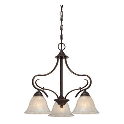 Quoizel - Quoizel Palladian Bronze Mid. Chandeliers - SKU: LLN5103PN - Graceful and well-designed makes the Lillian collection a sure hit. The lovely bell shades, painted in a stunning white flake finish, sit atop gentle curves finished in an opulent Palladian Bronze.