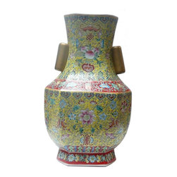 """Golden Lotus - Chinese Yellow Base Canton Famille Porcelain Vase - Dimensions: 9.5"""" x 7""""x h15"""""""