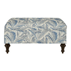 Tailored Storage Ottoman, Antibes Blue - This ottoman has storage inside and is great for a small dwelling. Plus, you can put your feet up on it while sitting on the couch.