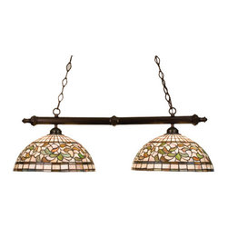 """Meyda Tiffany - 39""""L Turning Leaf 2 Lt Island Pendant - Subtle toned Autumn Gold, Russet and Moss Green leaves swirl against an Amber Mauve background in this stained glass Tiffany Studio reproduction. This elegant two light island with Mahogany Bronze finished hardware will complement and decor."""