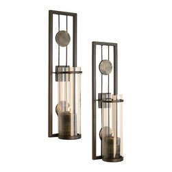 Danya B - Contemporary Metal Wall Sconce Set - Add an elegant,romantic touch to your home decor with a contemporary wall sconce set.  This set features glass inserts.