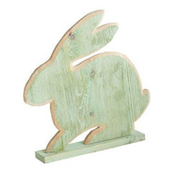 SPRING RABBIT - GREEN - Bring a little life and color to your mantel or spread with this springtime bunny. It's handcrafted in pine with a colorful finish that leaves the wood grain exposed. It's great to keep throughout the season and use for spring seasons to come.