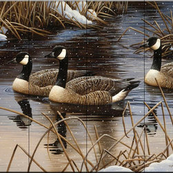 The Tile Mural Store (USA) - Tile Mural - Time To Head South - Cf - Kitchen Backsplash Ideas - This beautiful artwork by Cynthie Fisher has been digitally reproduced for tiles and depicts several Canadian Geese sitting in a lake.  Images of waterfowl on tiles are great to use as a part of your kitchen backsplash tile project or your tub and shower surround bathroom tile project. Pictures of egrets on tile, images of herons on tile and decorative tiles with ducks and geese make a great kitchen backsplash idea and are excellent to use in the bathroom too for your shower tile project. Consider a tile mural of water fowl for any room in your home where you want to add interesting wall tile.
