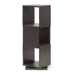 Baxton Studio - Baxton Studio Ogden Dark Brown/ Espresso 3-level Rotating Modern Bookshelf - Equally fitting for photos and other home decor, this contemporary display shelf is made in Malaysia with dark brown / espresso faux wood grain paper veneer over a frame of engineered wood.