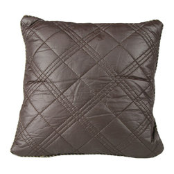 "Brandi Renee Design - Faux Leather Pillow 20"", Chocolate - Our faux leather pillow is designed with spacious hand sown diamond shape detailing and its sleek leather feel is smooth to touch. The bordered edge to the pillow is sown up by a thin tan string to add the perfect touch to the pillow. Available in colors Black, Chocolate & Ivory."