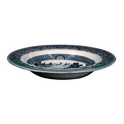 Johnson Brothers Willow Earthenware Rim Soup Bowl - Blue - Set of 4 - Featuring a beautiful Chinese landscape and detailed bands with geometric patterns the Johnson Brothers Willow Earthenware Rim Soup Bowl - Blue - Set of 4 is a stunning addition to your table. This exotic orient design captures the romantic story of two birds symbolizing lovers whose spirits will fly together for eternity in great detail. Its intricate and delicate look belies the strength and durability of this set. Crafted from earthenware that's made to last this set is dishwasher and microwave safe. About WedgwoodThrough highly skilled craftsmanship and the highest quality standards Wedgwood manufactures quality ceramics with sophisticated classical and contemporary design. With a tradition of innovation quality and craftsmanship Wedgwood designs are widely acknowledged as timeless elegant classic and understated. Their design teams work with external designers for cross-pollination of ideas and experience. Founded in 1759 by Josiah Wedgwood Wedgwood has been an international company determined to uphold their standards in order to maintain their leadership in the world's markets. Though their roots are over two centuries old the company strives to stay current through partnerships with fashion designers Jasper Conran and Vera Wang with whom they've developed contemporary and stylish ranges that appeal to the younger consumers.