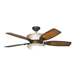"Kichler Lighting - Kichler Lighting - 300000 - Golden Iridescence - 52"" Ceiling Fan - With an Oiled Bronze finish and ribbed glass, this fan is a wonderful addition to the Kichler Golden Iridescence(TM) Collection. The 5, 52"" blades are pitched 14 degrees and are reversible for your choice of a Teak or Teak with Distressed Insert finish. The 172mm x 20mm Motor will provide the quiet power you need. With full range dimming and Intelligent Return, the integrated uplight uses 4 15-watt B-10 bulbs. This fan comes complete with the Full Function Cool Touch(TM) Control System with independent up and down light control and 6"" and 12"" (3/4"" I. D. ) downrods. Check out the 380002OLZ and 380003OLZ to see the optional downlight fixtures."