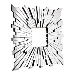 Zuo Modern - Zuo Modern Bang Mirror - Bang-Up DesignBlow the roof off boring and reflect some serious style with Zuo Modern's Bang Mirror. Its square center is surrounded by a mirrored mosaic frame for geometric-chic appeal. Hang it in the entryway for quick mirror checks, or put it up in your contemporary living room for some glamorous shine.Mirrored mosaic shapes vary in shape & sizeMade in China