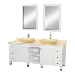 Wyndham Collection - 72 in. Eco-Friendly Hardwood Bathroom Vanity - Includes natural stone counter, backsplash, two vessel sinks and matching mirror. Faucets not included. Engineered to prevent warping and last a lifetime. Highly water-resistant low V.O.C. finish. 12 stage wood preparation, sanding, painting and finishing process. Floor standing vanity. Deep doweled drawers. Fully extending bottom mount drawer slides. Soft close concealed door hinges. Single hole faucet mount. Plenty of storage space. Brushed steel leg accents. Metal hardware with brushed chrome finish. Two doors and six drawers. Ivory marble top. Ivory marble sinks. White finish. Vanity: 72 in. W x 22.5 in. D x 36 in. H. Mirror: 24.25 in. W x 36.25 in. H. Handling InstructionsCutting edge, unique transitional styling. A bridge between traditional and modern design, and part of the Wyndham Collection Designer Series by Christopher Grubb, the Premiere Single Vanity is at home in almost every bathroom decor, resulting in a timeless piece of bathroom furniture.