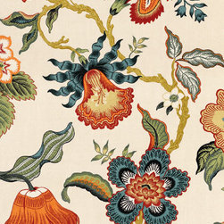 Hot House Flowers in Spark - Part of Celerie Kemble's collection for F. Schumacher, this twist on the classic tree of life pattern was inspired by tropical plants. The large scale makes it super dramatic, and the natural linen fabric gives it a modern edge.