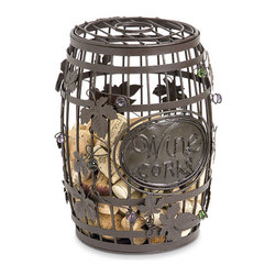 Wine Barrel Cork Cage - This is a unique yet functional way to store your special wine bottle corks — perfect for a wine cellar setting.
