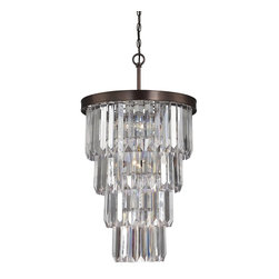 Savoy House Lighting - Savoy House Lighting 3-9801-7-28 Tierny Traditional Foyer Light - Create a one-of-a-kind glamorous glow in any space with the Tierney collection from Savoy House, which combines Burnished Bronze frames and graduated columns of shining optic acrylic elements.