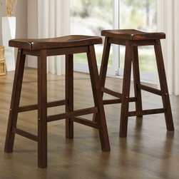 Tribecca Home - TRIBECCA HOME Salvador Cherry Low Saddleback Stool (Set of 2) - These Salvador Cherry Low Saddleback Stools stand at a conventional table height of 24 inches,making them the ideal addition to a cherry dining table or low counter.
