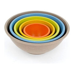"""Unbreakable, Durable, Nontoxic Bamboo Composite Bowls, Set of 5, 4.5"""" to 10.5"""", - Made primarily from bamboo fibers, one of the most renewable natural resources on the planet."""