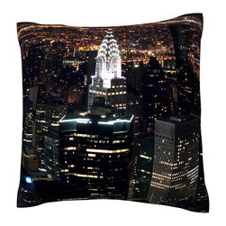 Custom Photo Factory - New York city at night Polyester Velour Throw Pillow - Aerial view of New York city at night, as seen from the empire state building,  18 x 18 Inches  Made in Los Angeles, CA, Set includes: One (1) pillow. Pattern: Full color dye sublimation art print. Cover closure: Concealed zipper. Cover materials: 100-percent polyester velour. Fill materials: Non-allergenic 100-percent polyester. Pillow shape: Square. Dimensions: 18.45 inches wide x 18.45 inches long. Care instructions: Machine washable