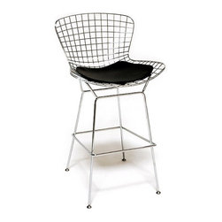 Bertoia Style Barstool, Black - This bar stool is a reproduction based on Harry Bertoia's classic design. Bertoias mesh bar stool provides an excellent example of emphasizing material and space. The overall idea behind these stools is more about the surroundings than of the furniture itself. As Bertoia once said, they should appear as if ?they are mainly made of air, like a sculpture. Space passes right through them. In other words, this timeless piece of furniture is being created to compliment the environment rather than define it.