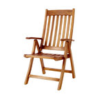 All Things Cedar - TEAK Folding Arm Chair - Our multi-position foldable Teak Arm Chair easily adjusts up to 5 different settings for your sitting preference. Made from Indonesian Teak, finished with a light teak oil and fitted with solid brass hardware ensure many years of trouble-free use. : DIMENSIONS : 24w x 25d x 42h --- SEAT : 19w x 18d x 17h (knockdown)