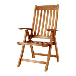 All Things Cedar - Teak Folding Arm Chair - Our multi-position foldable Teak Arm Chair easily adjusts up to 5 different settings for your sitting preference. Made from Indonesian Teak, finished with a light teak oil and fitted with solid brass hardware ensure many years of trouble-free use. Item is made to order.