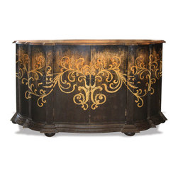 Tuscany Sideboard, French Black Torched with Antiqued Cream and Scrolls - Tuscany Sideboard, French Black Torched with Antiqued Cream and Scrolls