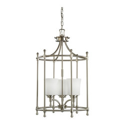 "KICHLER - KICHLER 2518NI Wharton Contemporary Foyer Light - Not quite contemporary, not fully traditional - this collection envelops Edith Wharton's principles of design. Symmetrical and intriguing the graceful curves of simple lines in this caged foyer piece complement the Brushed Nickel finish and Cased Opal glass. 3-light, 100-W. Max. (M) Dia. 17"", Body Height 28-1/2"", Overall 102 1/2"", Extra lead wire 44"". 6' of chain. For additional chain order No. 2996 NI."