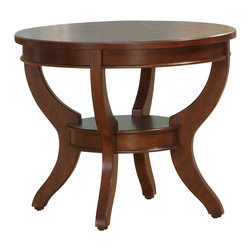 Homelegance - Homelegance Avalon Round End Table in Cherry - This clean-lined transitional occasional group takes its roots from the art deco era of the 1930's. The Avalon collection is both straight forward and dramatic. Excitement comes from its simple yet elegant design. Streamlined bowed fronts add movement and the glass insert of the round Cocktail table provides additional drama. Constructed of maple veneer with select hardwood in a contemporary cherry low sheen finish.
