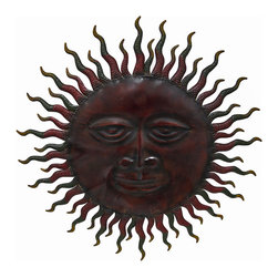 Smiling Sun Metal Wall Hanging Garden Art 24 Inch Outdoor - This beautiful round hand-painted metal smiling sun wall hanging measures 24 inches in diameter. Featuring wonderful personality, with beautiful earth tones, this wall hanging looks great on any wall, indoors and outdoors, and makes a great housewarming gift. This beautiful piece of metal art is brand new, never displayed.