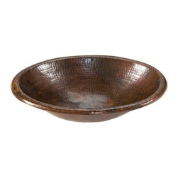 "Premier-Copper-Products - Small 17"" Oval Self Rimming Copper Sink - LO17RDB Premier Copper Products Small 17-Inch Oval Self Rimming Hammered Copper Sink"